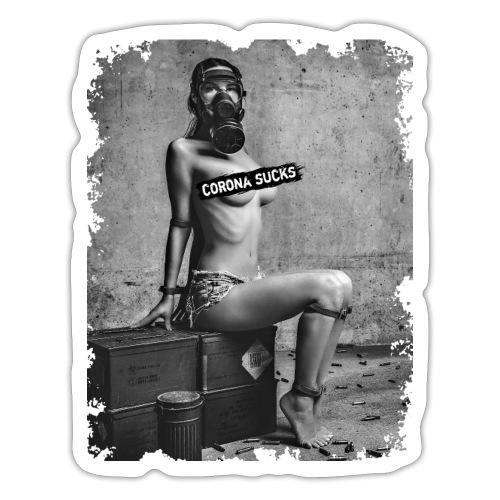 Sexy Girl mit Gasmaske gefesselt - CORONA SUCKS - Sticker