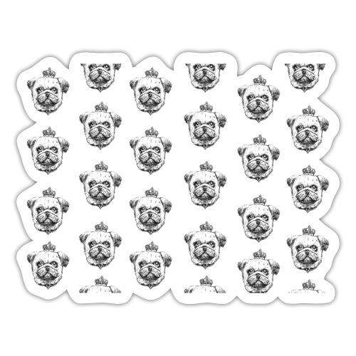 Mops mit Krone Muster Maske Hund - Sticker