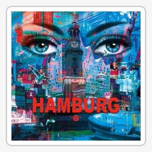 01 Faszination Hamburg Blaue Augen Elphi Michel - Sticker