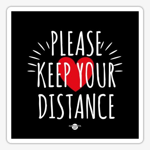05 Please keep your Distance Heart black - Sticker