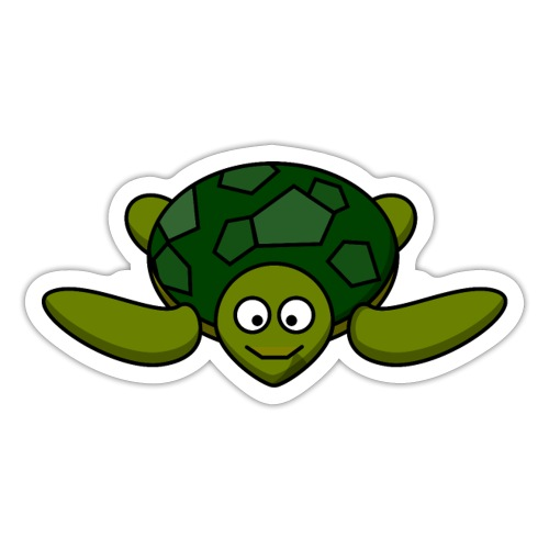 diving turtle Printdesign - Sticker