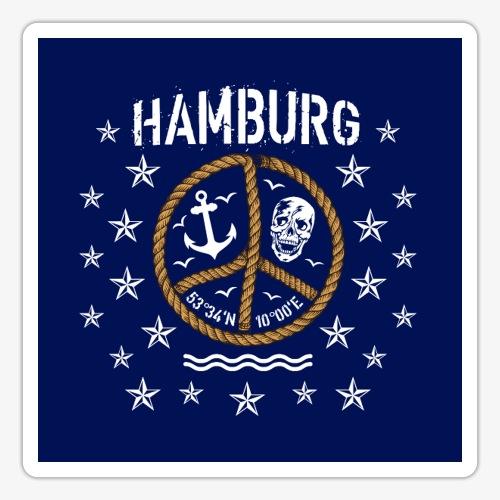 07 Hamburg Totenkopf Koordinaten Peace Anker Maske - Sticker