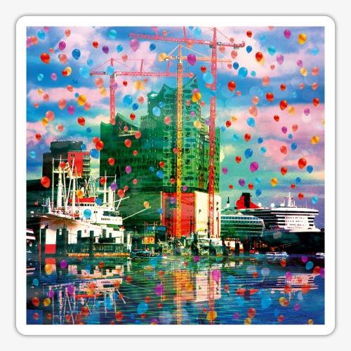 08 Hamburg Hafen Elphi Schiffe Kräne - Sticker