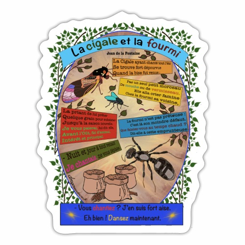 La Cigale et la Fourmi (Jean de la Fontaine) - Autocollant