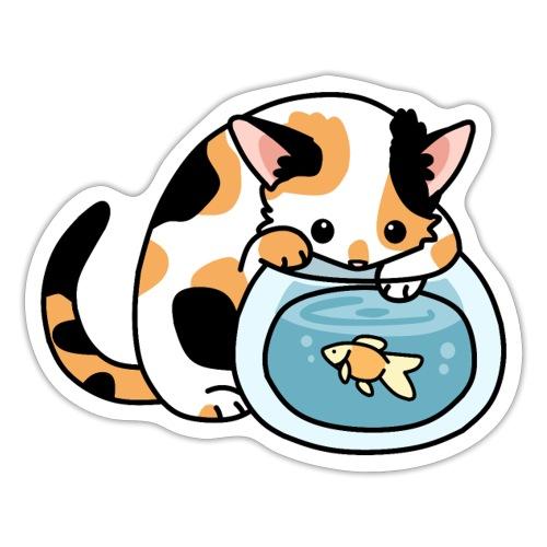 Katze mit Fisch im Glas - Sticker
