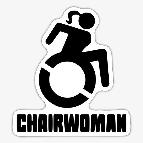 Rolstoel vrouw, chairwoman, dame in rolstoel, roll - Sticker