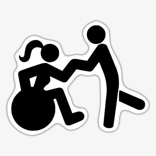 Afbeelding van vrouw in rolstoel die danst met man - Sticker