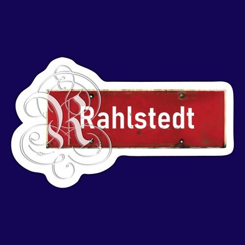 (Hamburg-) Rahlstedt Ortsschild + pompösem Initial - Sticker