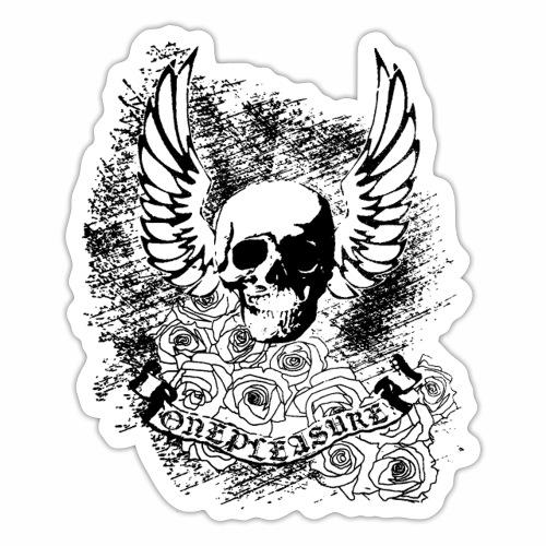 OnePleasure Schädel Flügel Rosen Banner Geschenk - Sticker