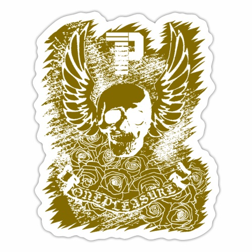 OnePleasure Goldener Schädel Flügel Rosen Banner - Sticker