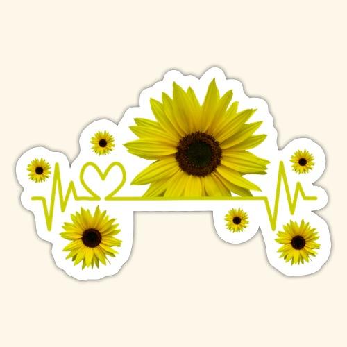 Sonnenblumen, Sonnenblume, Herzschlag, Herz, Blume - Sticker