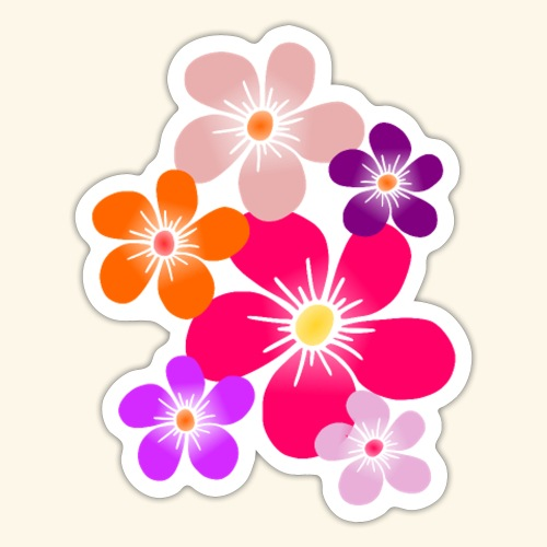 bunte Blumen Blüten Blumenranke Blume floral - Sticker