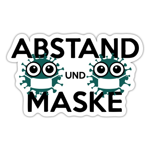 Mit Abstand und Maske gegen CORONA Virus - schwarz - Sticker