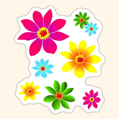 bunte Blumen, farbenfroh, blühend, Blüten, blumig - Sticker