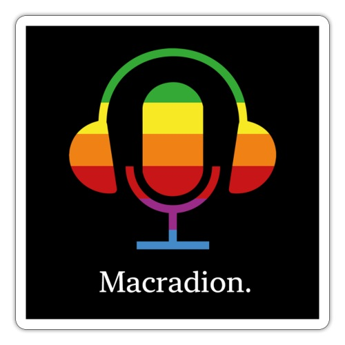 Macradion logo och text på svart - Klistermärke