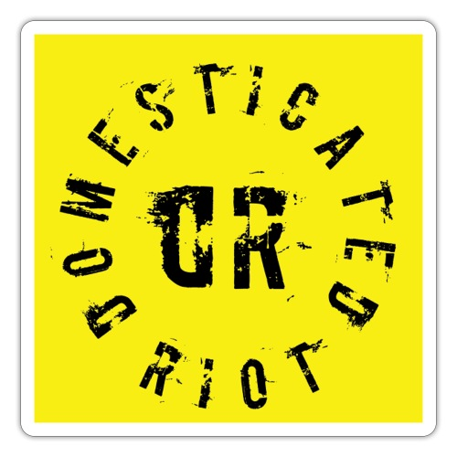 Domesticated Riot - Square Yellow Logo Sticker - Klistermärke