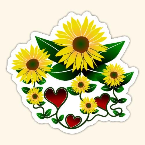 Sonnenblumen, Herzen, Blumen, floral, Herz, Blüten - Sticker