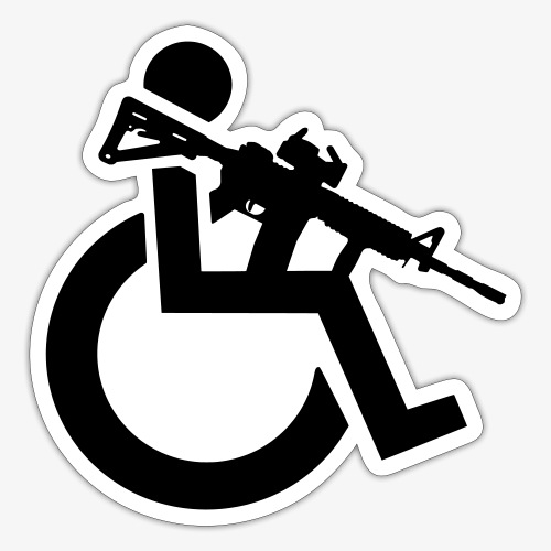 Gewapende rolstoel gebruiker met geweer, wapen - Sticker
