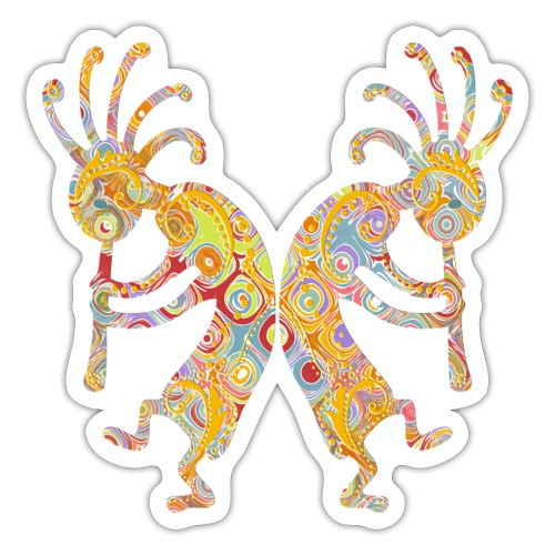 Native American Kokopelli Duo with Ornaments 2 - Sticker