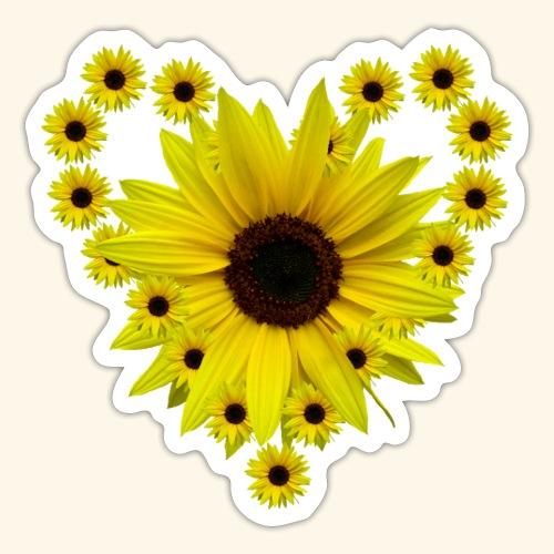 Sonnenblumenherz, Sonnenblume, Sonnenblumen, Herz - Sticker