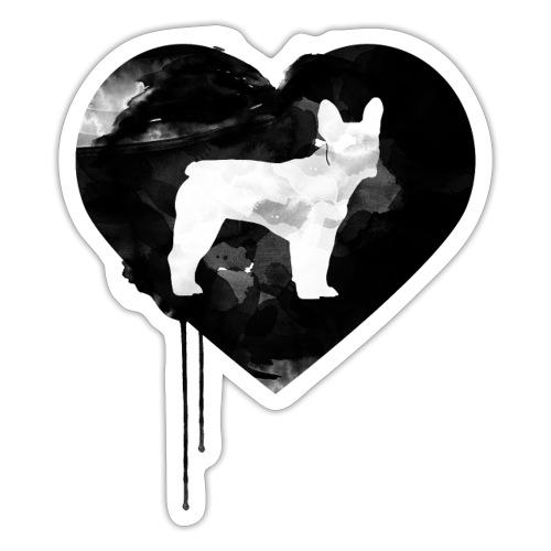 Französische Bulldogge Herz mit Silhouette - Sticker