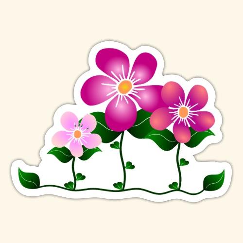 Blumen, pink, Blüten, floral, Blumenwiese, blumig - Sticker