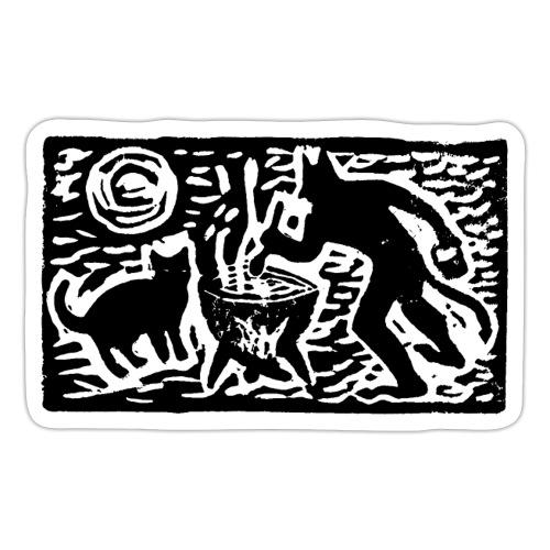 Teufel mit Katze - Sticker
