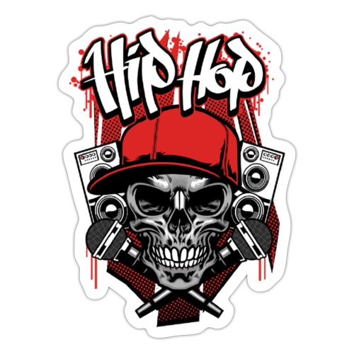 Hip Hop Totenkopf Mikro - Sticker