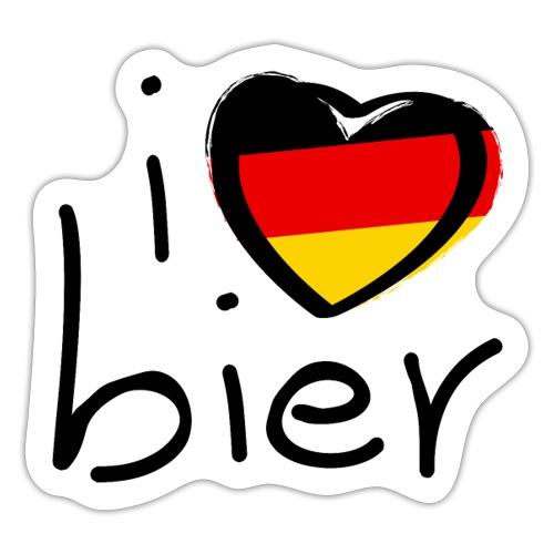 Ik hou van bier met de vlag van Duitsland. Hartje - Sticker
