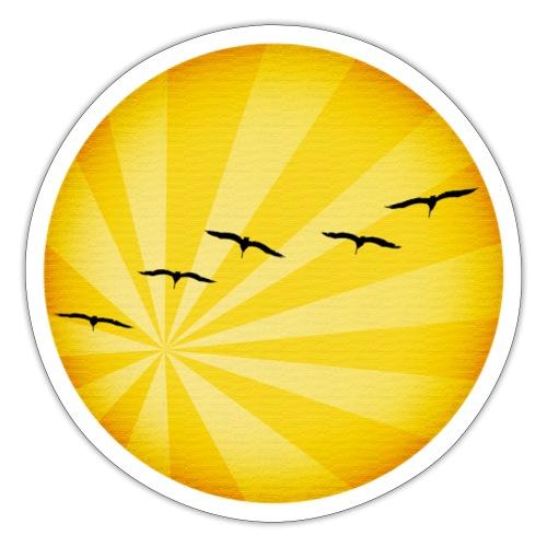 Un amanecer con pájaros en el horizonte - Pegatina