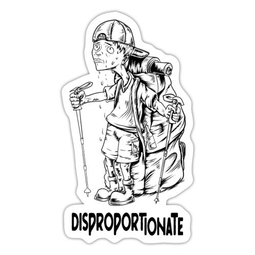 hiking man disproportionate - Sticker