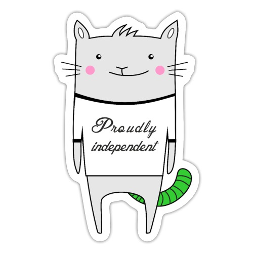 Cat Proudly Independent - Sticker
