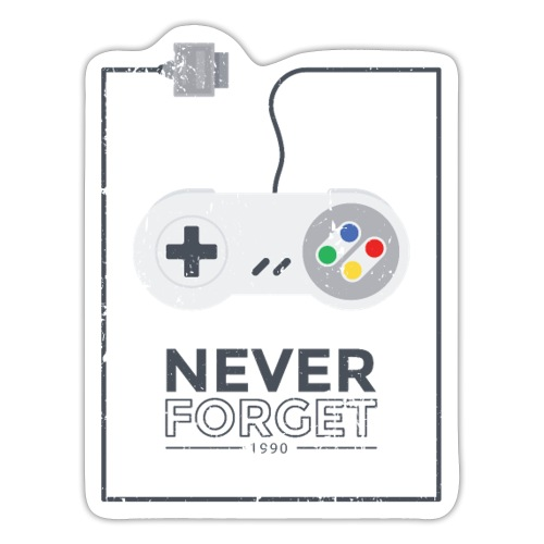 Never Forget 1990 Gaming Retro Gamer Geschenk - Sticker