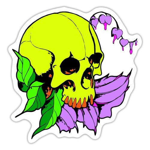 Skalle och blomma - Klistermärke