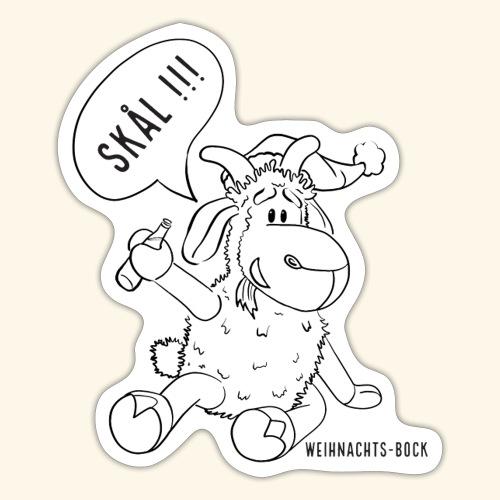 Schafbock: Weihnachtsbock - schwarz - Sticker