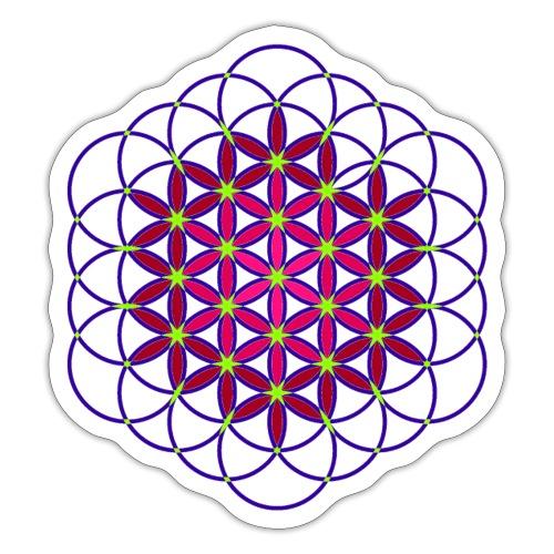 Fleur de vie rose et bleue - Autocollant