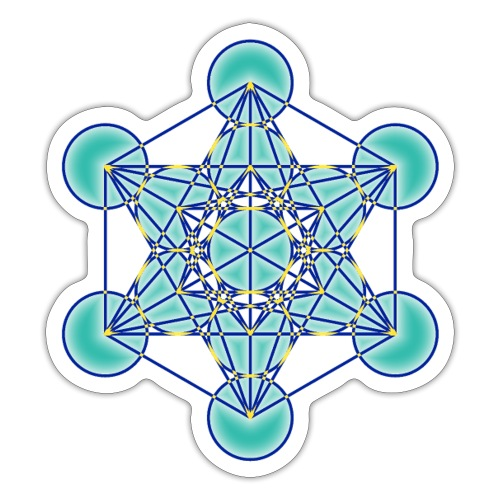 Cube de Métatron bleu dégradé - Autocollant