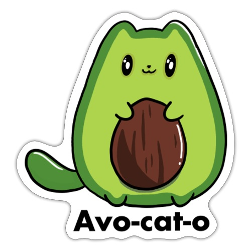 Gatto avocado - Avo - cat - o tutti i motivi - Adesivo