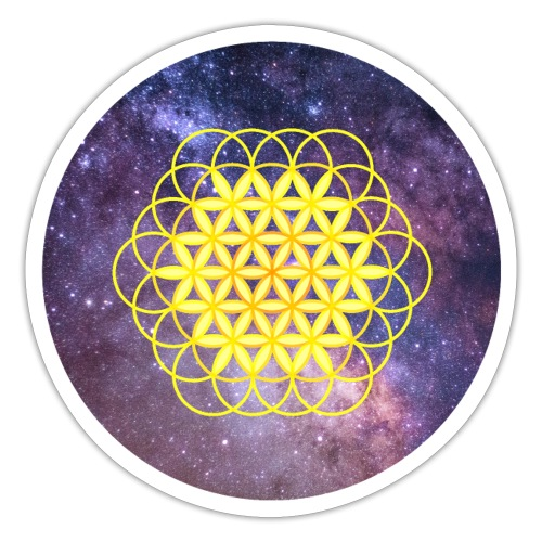 Fleur de vie jaune sur fond espace - Autocollant