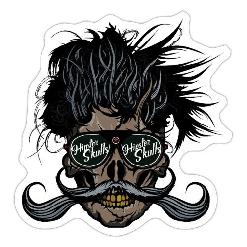 hipster skull tete de mort crane barbu moustache - Autocollant