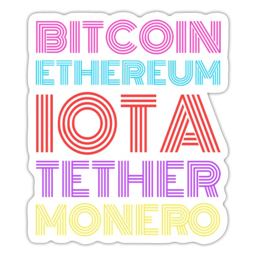Retro Crypto | Bitcoin, Ethereum, IOTA, Tether - Sticker