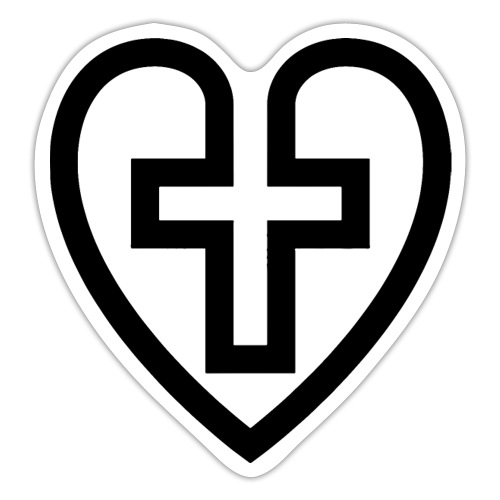 Symboliskt kristet kors i ett hjärta - Klistermärke
