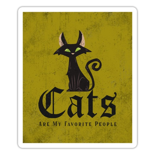 Cats are my favorite people, grunge print - Sticker