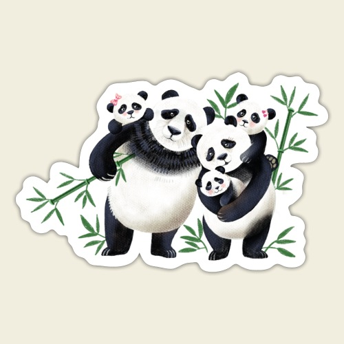 Pandafamilie drei Kinder - Sticker