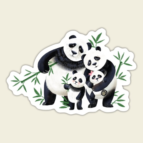 Pandafamilie zwei Kinder - Sticker