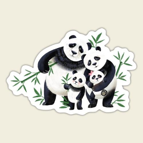 Pandafamilie zwei Kinder - Sticker
