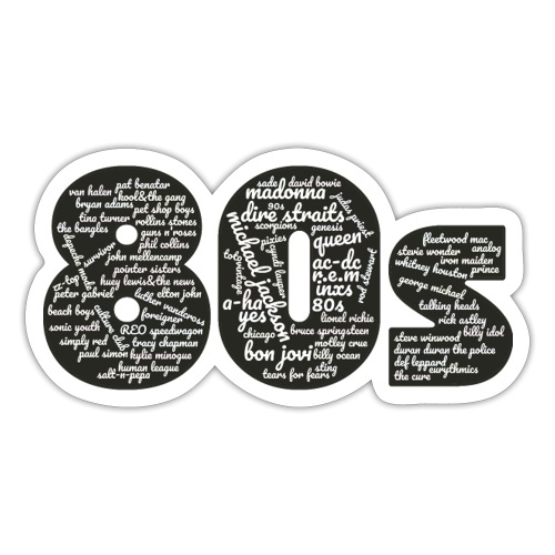Cloud words 80s white - Sticker