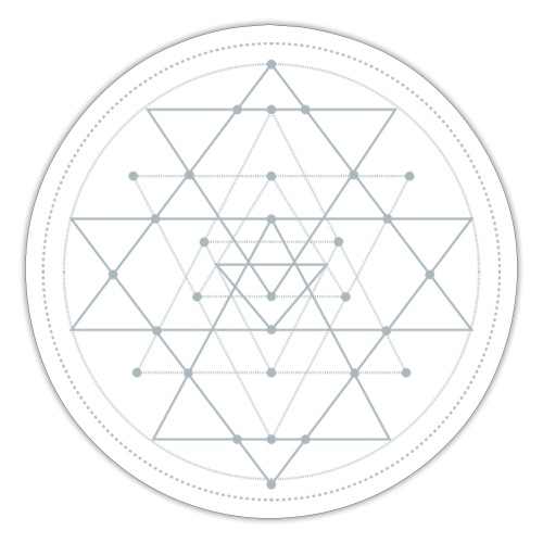 Harmaa geometrinen Shri Yantra -kuvio - Tarra