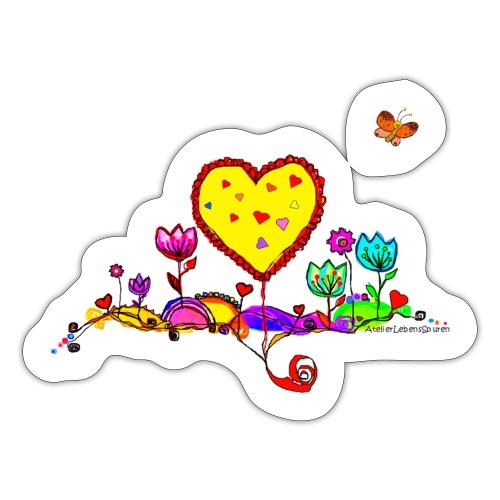 Blumengruß mit Herz - Sticker