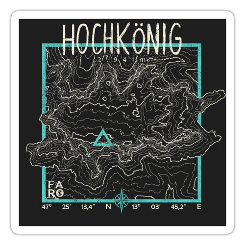 Hochkoenig Contour Lines - Pitch Black - Sticker